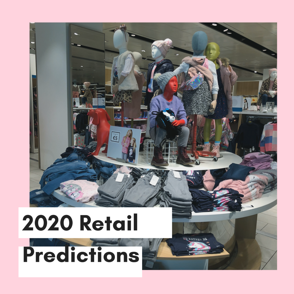 tier table with children's mannequins and clothing folded around. 2020 Retail Predictions: The Triple Bottom Line.